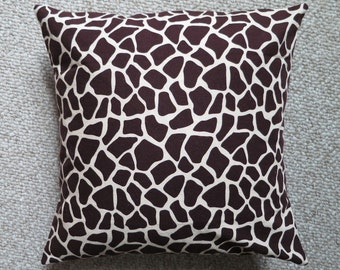 "Custom Pillow Cover Giraffe Print Chocolate Brown Beige 14"""