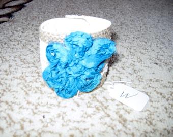 Burlap Lace & Flower Cuff