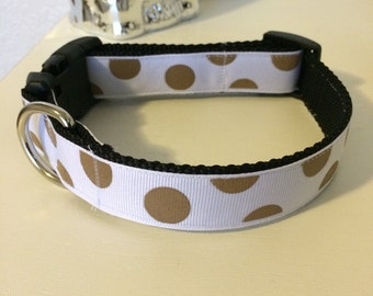 White with gold polka dots- Medium to Large