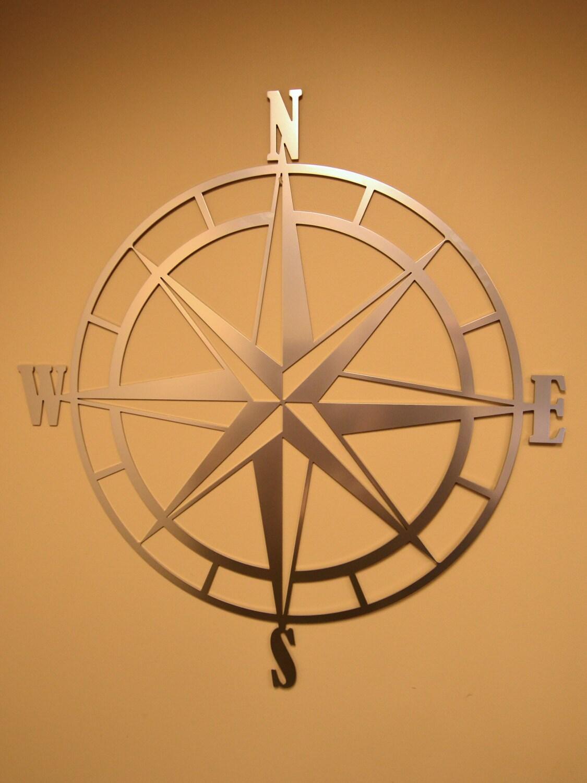Nautical Compass Wall Decor : Nautical compass rose metal wall art chrome powder coat