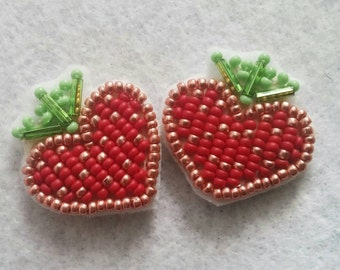 """Small, 1"""", studded, red and copper very sweet Strawberry studded earrings perfect for spring and summer"""