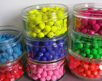30 matte acrylic beads fluo 10mm