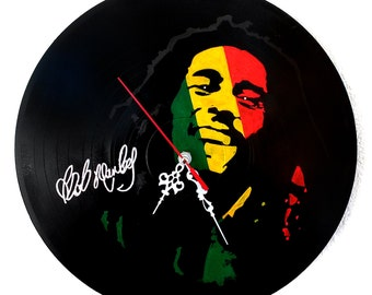 Bob Marley,hand painted vinyl record clock