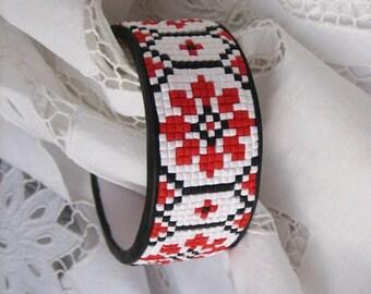 Tribal jewelry bracelet mosaic ornament Ethnic jewelry Polymer clay jewelry Women  bracelet Folk art Elegant bracelet  folk pattern jewelry