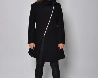 Black Wool coat/Casual coat Jacket/Extravagant Winter coat jacket/Woman Asymmetrical wool coat/ zipper cashmere coat 100% wool coat/C1301