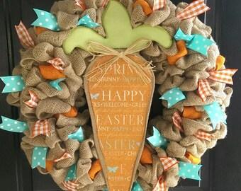 "Easter Wreath - Burlap Easter Wreath - Easter Carrot Wreath - 24"" Easter Wreath"