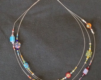Glass and Clay beaded necklace