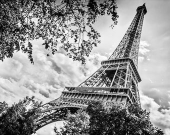 Eiffel Tower Black White, Paris Home Decor, Large Wall Art, Fine Art Photography, Canvas Gallery Wrap, Archival Photographic Paper & Metal