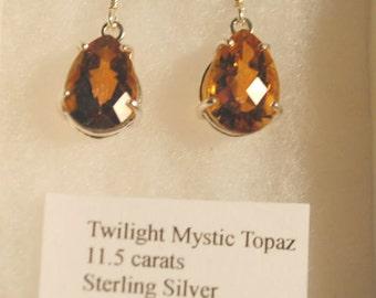 TWILIGHT MYSTIC TOPAZ Checkerboard Faceted Teardrop Sterling Silver Dangle Earrings