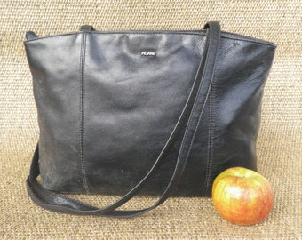 Vintage PICARD Black Leather Zip Up Top Tote Shoulder Bag