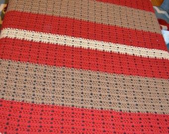Brown, Tan, and Crimson Striped Afghan