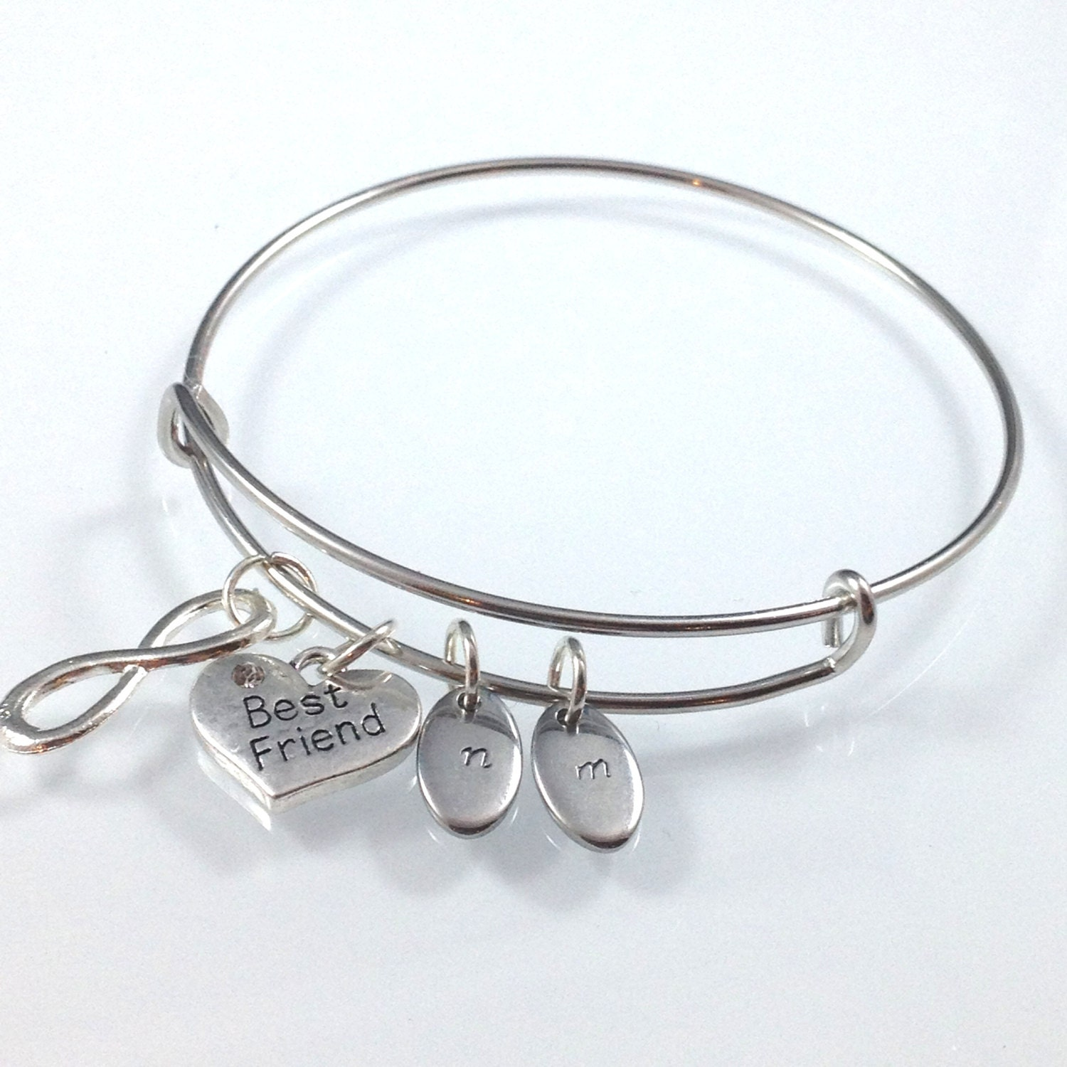 Best Friend Charm Bracelet: Best Friend Bangle Bracelet Infinity Charm Bangle