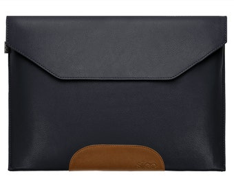 Laptop Sleeve Leather Navy Blue Brown Bag Cover Case f. Macbook Air / Pro / Retina etc.