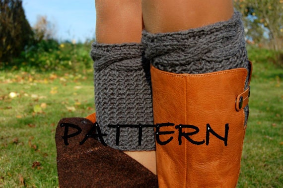 Pattern Women Cable Knit Boot Cuff Knitting Pattern From