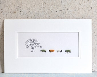 Picture, Tree, Coloured Wooly Sheep, finished with real wool