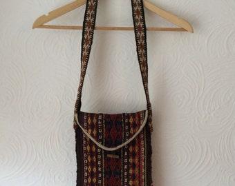 Vintage 70s hippy kilim carpet shoulder bag