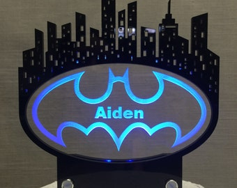 Batman Signal and Gotham City inspired Cake Topper, Personalized and  with LED light