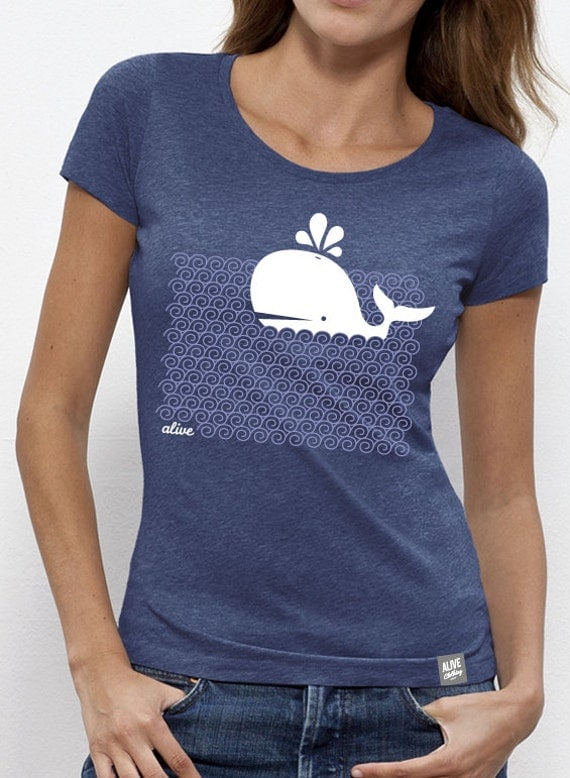 Waving whale t shirt girls for Whale emblem on shirt