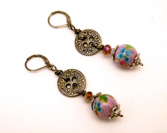 Chinese Coin and Floral Earrings, E0002