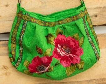 Boho Chic Bag Woman's Bag Summer Green Bag Red Flowers Multi Color Été Sac vert Bolso verde del verano Estate Borsa verde Зеленая Бохо Сумка