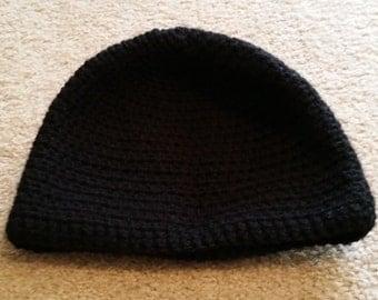Handmade crochet black beanie
