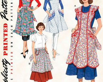 Vintage Retro Apron, Simplicity pattern 3544, Reprint from 1948 & 1952, full coverage apron, bib apron, half apron, all with pockets