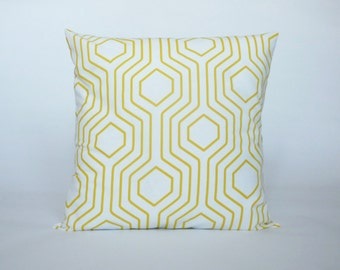 """Yellow & White Pillow Cover, Modern Yellow and White, Decorative Throw Pillow, Accent Pillow, 14x14"""", 16x16"""", 18x18"""""""