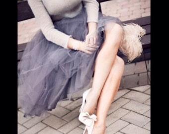 Gray Tulle Skirt Bridesmaid Flower Girl Skirt Wedding Dress Tutu Ballet
