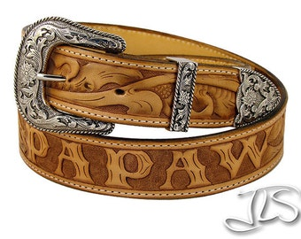 Personalized Leather Belt Hand Tooled Name Western Buckle Set