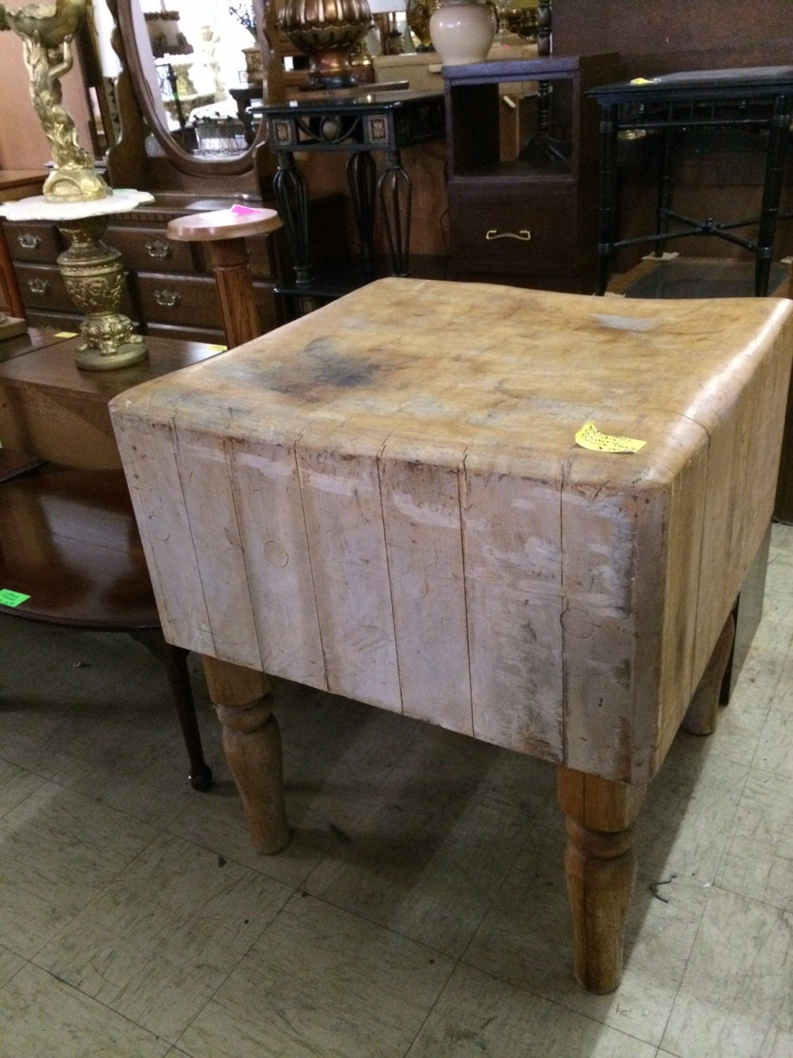 early antique butcher block table island by marketstfurniture