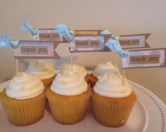 Thank You Cupcake Toppers (Set of 12).