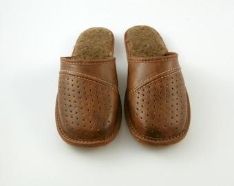 Comfortable, handmade, leather slippers for men