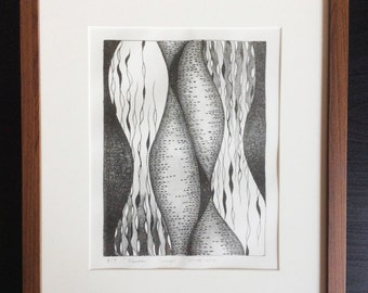 Fluxion, White and Black Lithograph Printmaking by MENGXUAN LIU