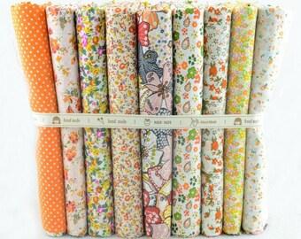 Fat Quarter Bundle - thin - FLORAL YELLOW collection - 9 fat quarters