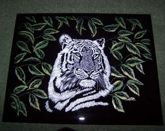 Colored Tiger Plaque Hand Engraved