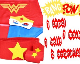 Wonder Woman cape and mask, wonder woman costume, hero clothes, wonder woman cosplay, superhero cosplay, wonderwoman mask, hero costume