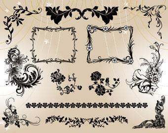 Instant Download Flourish Swirl Frame Border Clipart Vintage Frame Scrapbook Embellishment Digital Floral Frame Border Decor Element 0005