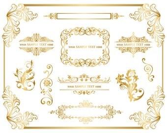 GOLD Digital Frame ClipArt Flourish Swirls Floral Volute Gold Scroll Design Make Your Own Invitation Gold Scrapbook Supplies 0029