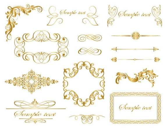 Instant Download Gold Frame Border Clip Art Gold Flourish