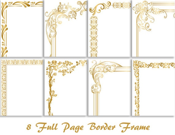 8 Gold Digital Full Page Border Clip Art Gold Full Page Frame