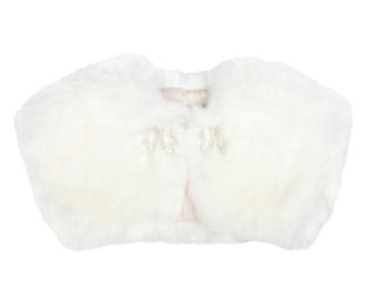 Fifi Flower Girl Faux Fur Bolero - Ivory