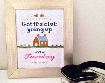 Club Going Up on a Tuesday - cross stitch pattern PDF 8x10 instant download