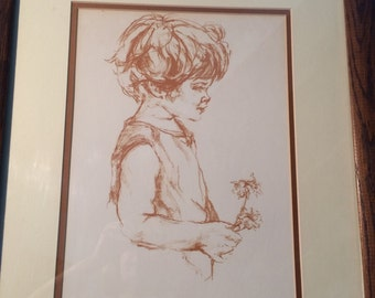 Shari Child with Flower Serigraph 11/20 signed by Artist Child Art, Gentle, Loving, Children's Art,Traditional Art Affordable Art Staging