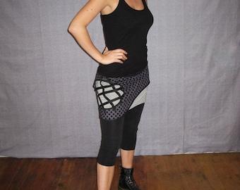 miniskirt woman grey with black polka dots