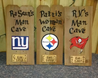 Man, woman,or kids cave sign, custom made with your favorite hand painted logo, and name.