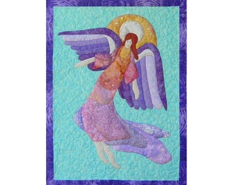 Angels Flight is an appliqued and quilted wall hanging pattern.