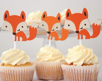 12 x Fox Cupcake toppers - Fox, Woodland Creature, Birthday