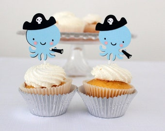 12 x Pirate Octopus Cupcake Toppers - under the sea, nautical, pirate party