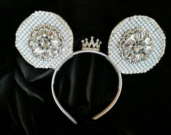 Bling! Silver sparkle mouse ears with crown