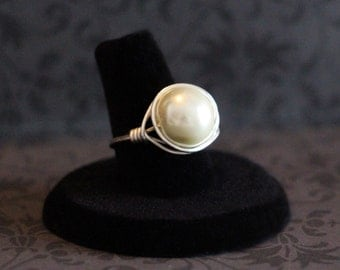 White Pearl Silver Wire Wrapped Ring Jewelry, Wire Beaded Ring, Any Size